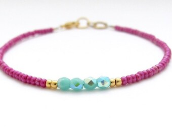 Metallic Rose Turquoise Bracelet, Seed Bead Bracelet, Friendship Bracelet, Bridesmaid, Minimal Bracelet, Fuchsia Bracelet, Hawaiian Jewelry