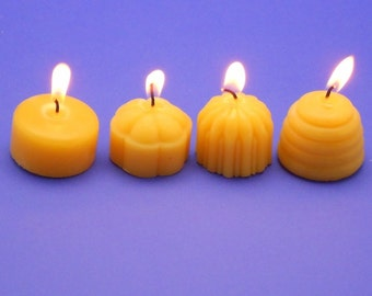 Variety Pack of 60 Pure Beeswax Tealights, Beeswax Tea Light Candle Refills, Bee Hive and Flower Blossom and Fluted and Classic Tea Lights