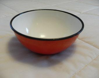 Vintage Enamel on Steel Orange Bowl