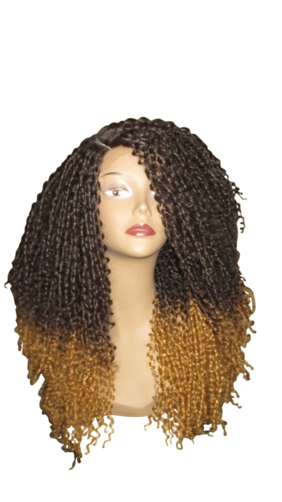 Essence Wigs Ombre Blonde Kinky Straw Curled Lacefront Wig Natural Hair Lace Wig Premium Remy Sustainable Fibers