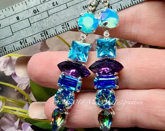 Reserved for Hazel, Custom Crystal Earrings, Handmade Earrings, Swarovski and Vintage Crystal, Sterling Silver, Long Dangle Earrings