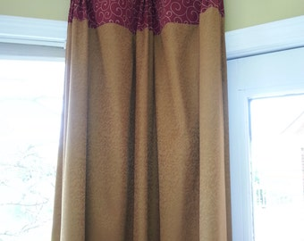 custom Fan Pleat Drapery Panel hung from finials (your fabric,my lining)