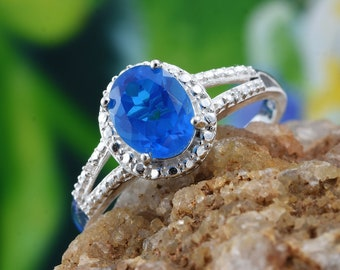 Caribbean Blue Quartz ring - Size 8