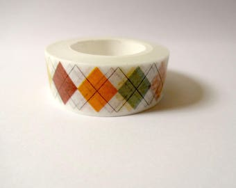 Washi tape colorful Argyle - masking tape - Scrapbook - embellishment