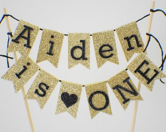 One Cake topper, name cake topper, first birthday cake topper, cake banner, smash cake topper