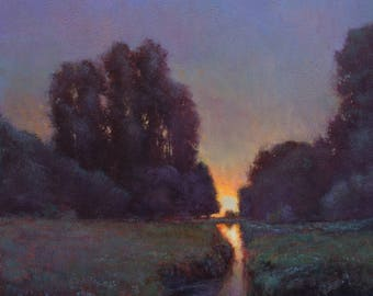 Moonrise painting impressionist landscape oil painting sunset tonal  by Don Bishop