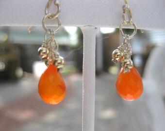 Carnelian Teardrop Earrings w/14k Gold and Sterling Silver