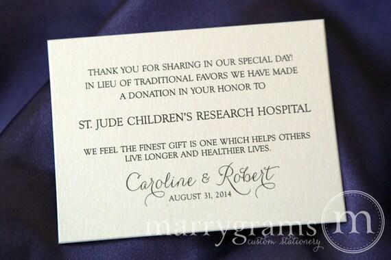 Wedding Donation Favor Cards