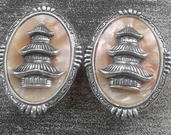 Clip On Asian Style Pagoda Earrings