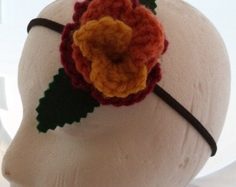 Crocheted Rose Headband - Serenity (SWG-HH-SE02)