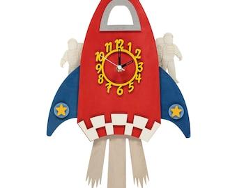 Rocket Personalised Wooden Pendulum Clock