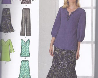 Simplicity Pattern 2737 from 2008  Misses Pants, Skirt, Tunic or Top, Bust 32 1/2-40 for all but skirt.  Skirt waist: 25-26 1/2   Boho