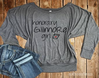 Honorary Gilmore Girl Bella+Canvas Long Sleeve Flowy Tee, Gilmore Girls, I Drink Coffee Like A Gilmore, I'd Rather Be Watching Gilmore Girls