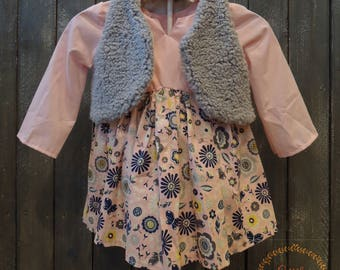 18 Month Light Pink and Navy Blue Floral Tunic Top with Grey Vest