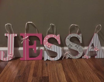 8in wooden name letters, Jessa