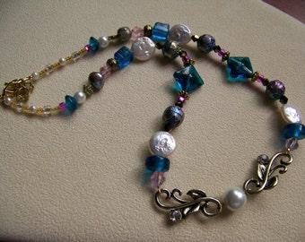 Steampunk Wedding Necklace,Brides Necklace,Beaded Wedding Jewelry,beaded jewelry, strand necklace, patriotic necklace, #44