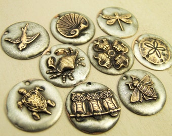 25mm Molten Silver and Brass Charm - YOU PICK - Dragonfly, Owls, Crab, Bee, Turtle, Bird, Dogwood Flower, Sand Dollar, Shell - Patina Queen