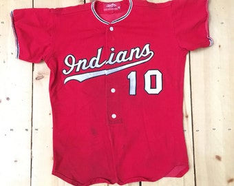 Vintage 80s Cleveland Indians #10 MLB Rawlings Replica Baseball Jersey - Size 40 Medium - Made in USA