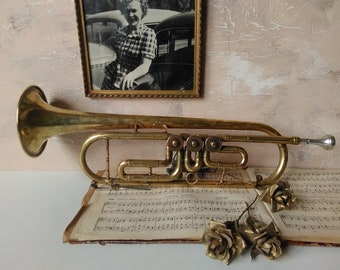 Vintage trumpet,rare instrument,musical instrument ,made in the USSR,cornet