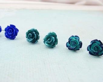 Surgical steel earrings, teal green or royal blue flower post stud earrings. Surgical steel dainty post flower earrings