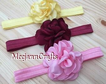 Three Headband. Yellow/Burgundy/Light Pink.  Babies Headband. Girls Vintage Fabric Rose Flower hair Bow.