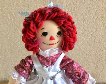 "10"" Raggedy Ann Doll -  Red Dress - Ready to Ship"