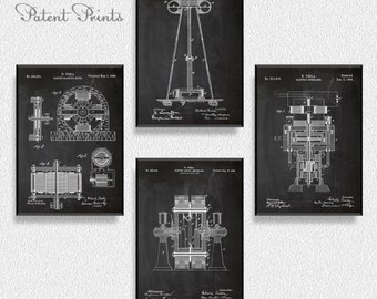 Nikola Tesla Patents Set of 4 Prints, Nikola Tesla Prints, Nikola Tesla Posters, Nikola Tesla Blueprints, Nikola Tesla Art, Nikola Tesla