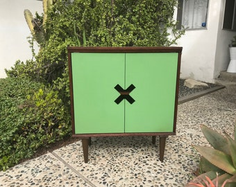 MID CENTURY MODERN Style Green X Cabinet Console Table/Storage Cabinet