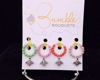 Wine glass marker - bee charms
