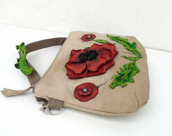 Leather crossbody bag zipper, small shoulder bag with flower, leather bag poppies, day bag, leather beige purse, evening bag, leather clutch