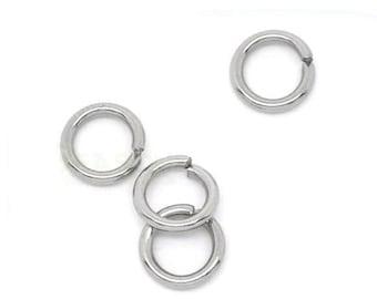 5mm Jump Rings : 100 Antique Silver Open Jump Rings 5mm x .8mm (20 Gauge) -- Lead, Nickel, & Cadmium free Jewelry Findings 5/.8