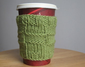 Fern Green Big Squares Knit Coffee Cup Cozy, Knit Coffee Sleeve, Knit Mug Cozy, Coffee Cozy, Travel Mug Cozy, Mason Jar Cozy