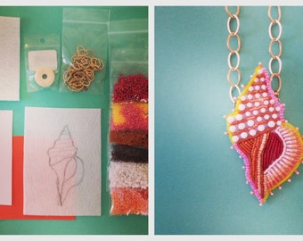 Conch Shell Bead Embroidery Tutorial and Kit