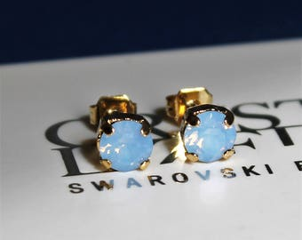Gold Plated Stud Earrings made with Air Blue Opal Swarovski Crystal Elements and Surgical Steel Posts by LadyCJewellery