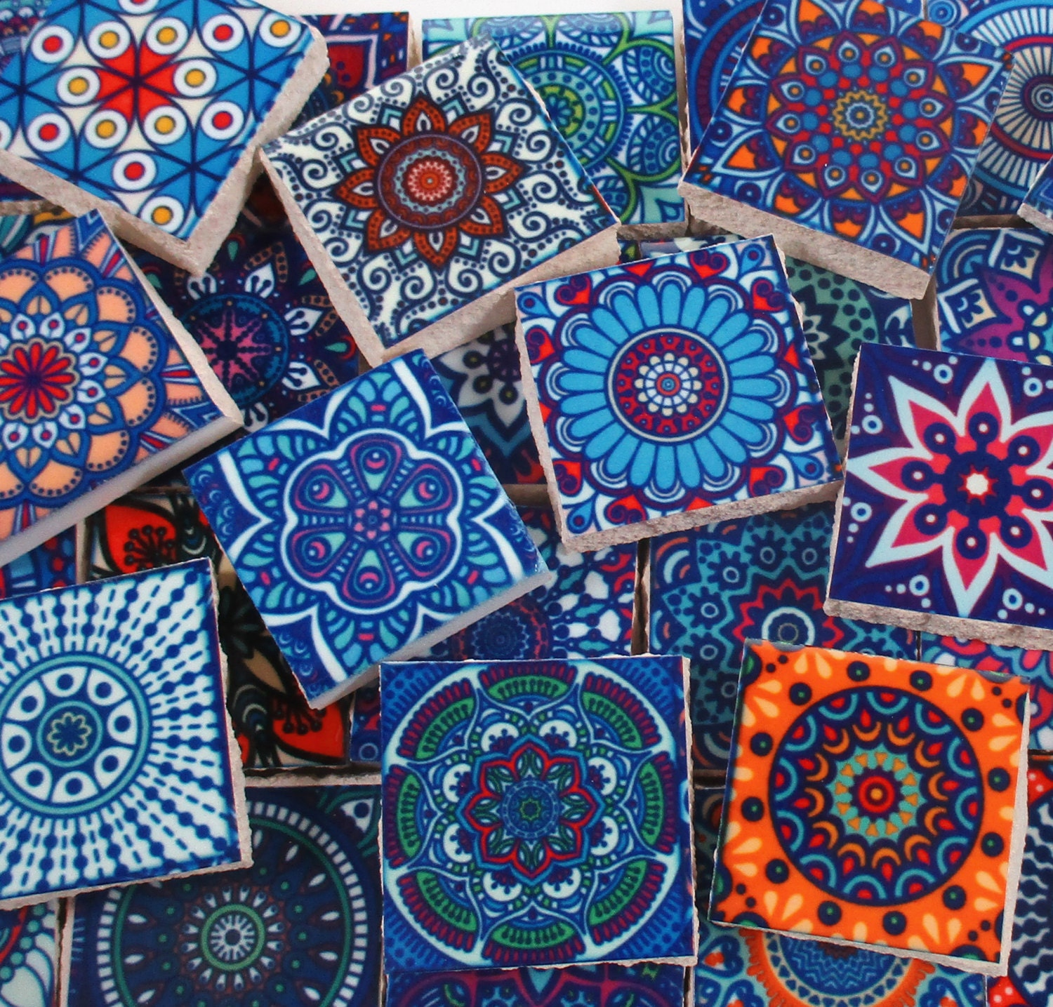 Ceramic Mosaic Tiles - Multi Blue Colors Medallions Moroccan Tile ...