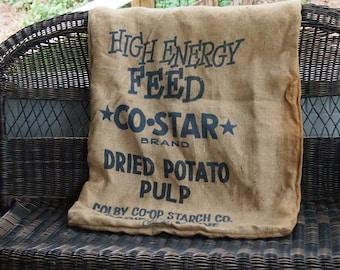 vintage antique burlap potato sack great vintage graphics advertising graphics farmhouse country cottage rustic home decor potato sack