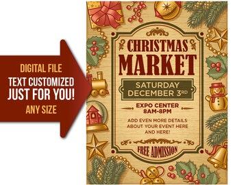 Christmas, holiday, market, craft fair, craft show, party, flyer, invite, printable, poster, personalized, customized, invitation, postcard