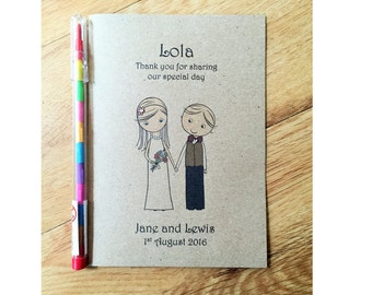 A6 Personalised Vintage Childrens Kids Wedding Activity Book Pack Favour - Bride and Groom Design
