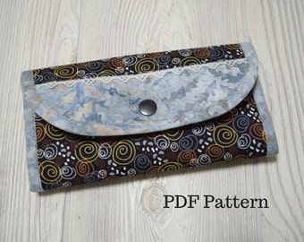 My Favorite Wallet sewing pattern. PDF sewing pattern. Card slots, slip pockets and zipper pocket. Bifold Clutch Wallet by KaysSewingStudio.