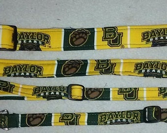 Baylor Bears Fabric Dog Collars, Breakaway Cat collars and Leashes - all sizes - pet collars that are Adjustable and Reinforced