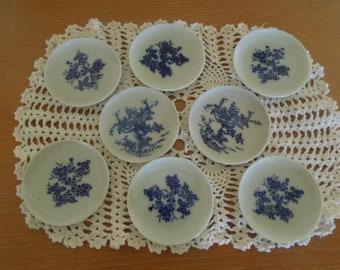 Vintage Blue & White Butter Pats Small Plates Porcelain Set of Eight