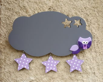 door with OWL and stars painting slate cloud