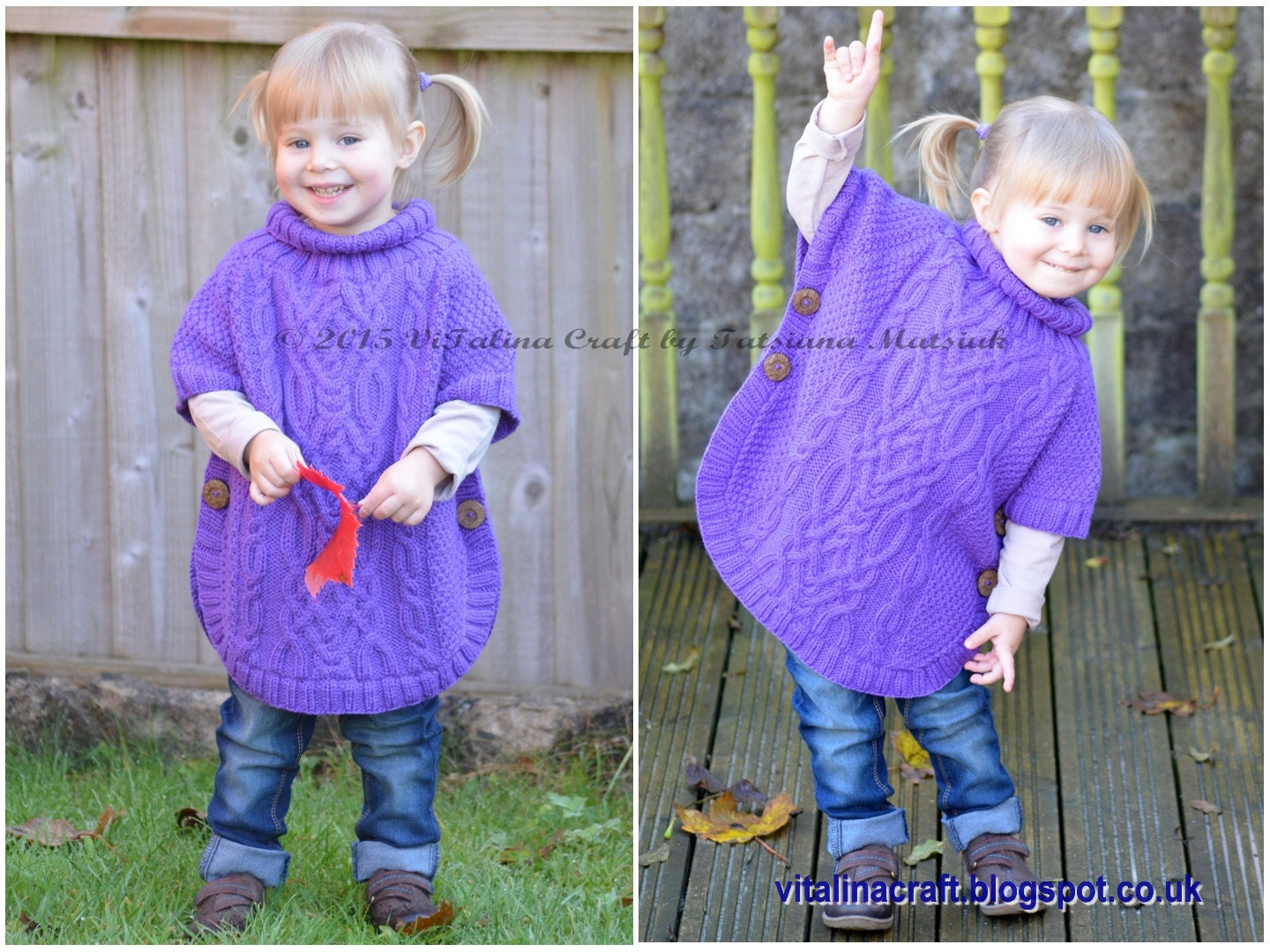 Knitting Pattern Cable Fantasy Poncho Toddler and Child