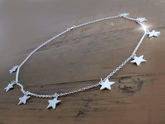 short Silver Star Burst Necklace, Little Stars Necklace, Sterling Silver Stars Layering Necklace on 16 inch Belcher Chain