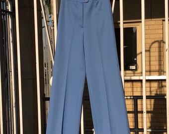 80's Vtg Light Blue Polyester Pants