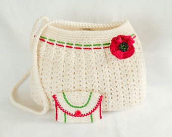 White knitted bag with poppy flower detail and wallet