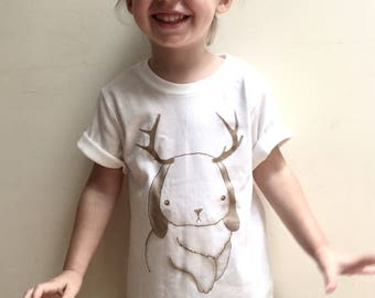 """Toddler t-shirt white with a gold hand made screen printing  """"Jackalope"""""""
