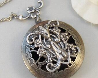 Gladriale,Locket,Silver,Scent Locket,Antique Locket,Floral,Jewelry,Elf,Fairy, Handmade jewelry by valleygirldesigns.