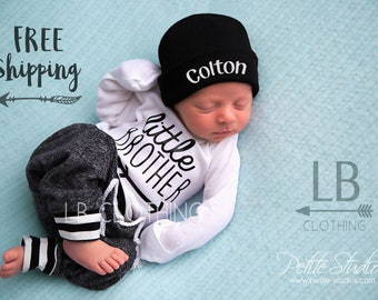 LITTLE BROTHER outfit, Baby Boy Coming Home Outfit/ Personalized Infant Baby outfit and Hat/ Monogrammed Baby Boy/ Baby Shower Gift