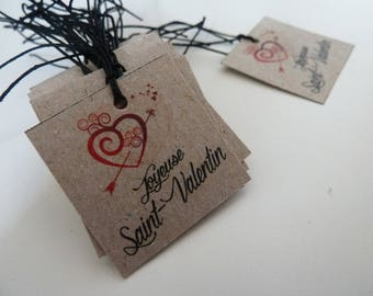 20 square label Valentine heart Valentine's day, vintage, thick cardstock